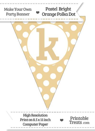 Pastel Bright Orange Polka Dot Pennant Flag Lowercase Letter K from PrintableTreats.com