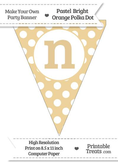 Pastel Bright Orange Polka Dot Pennant Flag Lowercase Letter N from PrintableTreats.com