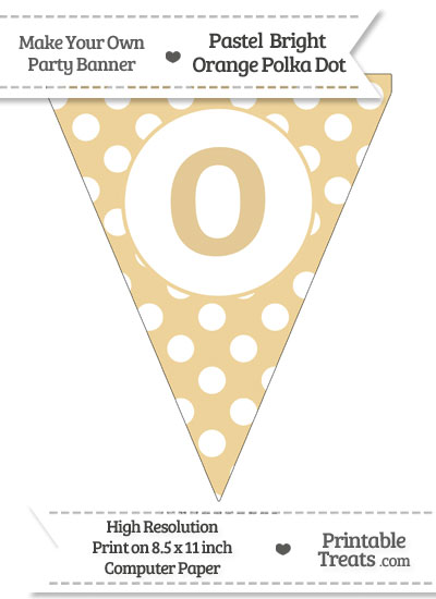 Pastel Bright Orange Polka Dot Pennant Flag Lowercase Letter O from PrintableTreats.com