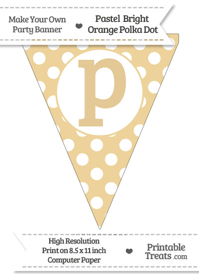 Pastel Bright Orange Polka Dot Pennant Flag Lowercase Letter P from PrintableTreats.com