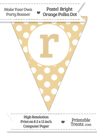 Pastel Bright Orange Polka Dot Pennant Flag Lowercase Letter R from PrintableTreats.com