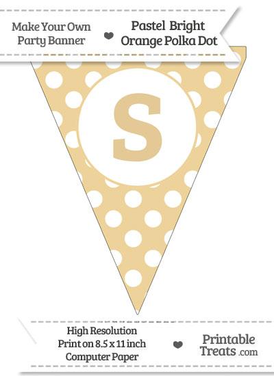 Pastel Bright Orange Polka Dot Pennant Flag Lowercase Letter S from PrintableTreats.com