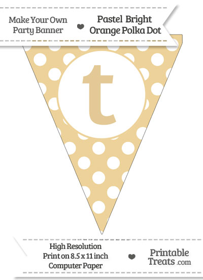 Pastel Bright Orange Polka Dot Pennant Flag Lowercase Letter T from PrintableTreats.com