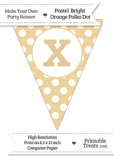 Pastel Bright Orange Polka Dot Pennant Flag Lowercase Letter X from PrintableTreats.com