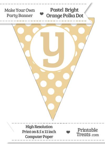 Pastel Bright Orange Polka Dot Pennant Flag Lowercase Letter Y from PrintableTreats.com