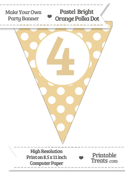 Pastel Bright Orange Polka Dot Pennant Flag Number 4 from PrintableTreats.com
