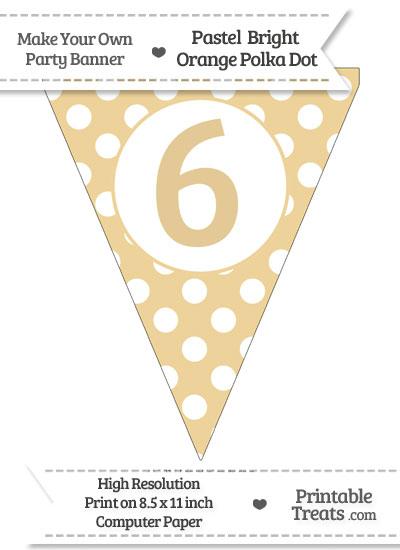 Pastel Bright Orange Polka Dot Pennant Flag Number 6 from PrintableTreats.com