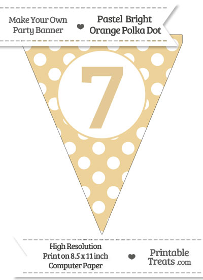 Pastel Bright Orange Polka Dot Pennant Flag Number 7 from PrintableTreats.com