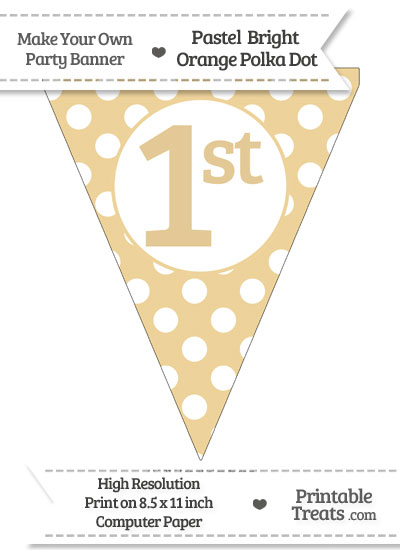 Pastel Bright Orange Polka Dot Pennant Flag Ordinal Number 1st from PrintableTreats.com