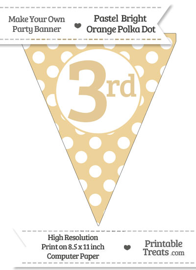 Pastel Bright Orange Polka Dot Pennant Flag Ordinal Number 3rd from PrintableTreats.com