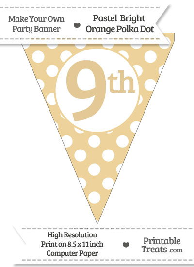 Pastel Bright Orange Polka Dot Pennant Flag Ordinal Number 9th from PrintableTreats.com
