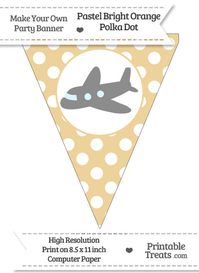 Pastel Bright Orange Polka Dot Pennant Flag with Airplane Facing Left Download from PrintableTreats.com
