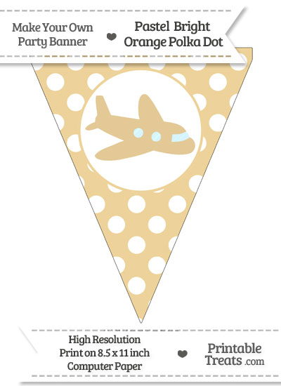Pastel Bright Orange Polka Dot Pennant Flag with Airplane Facing Right from PrintableTreats.com
