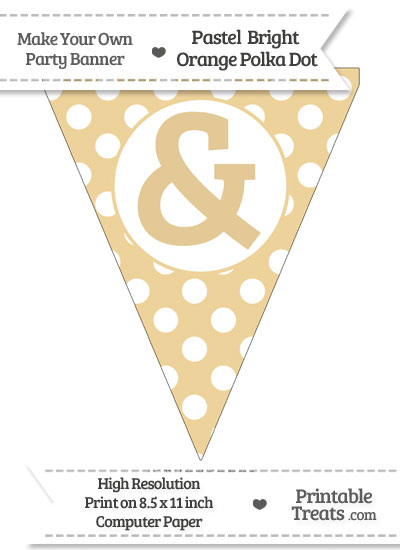 Pastel Bright Orange Polka Dot Pennant Flag with Ampersand from PrintableTreats.com