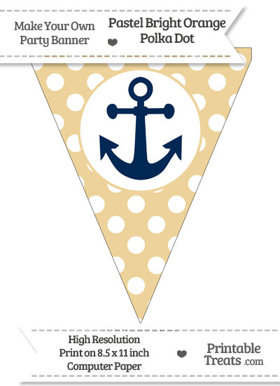 Pastel Bright Orange Polka Dot Pennant Flag with Anchor Download from PrintableTreats.com