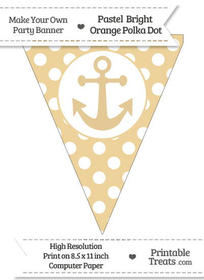 Pastel Bright Orange Polka Dot Pennant Flag with Anchor from PrintableTreats.com