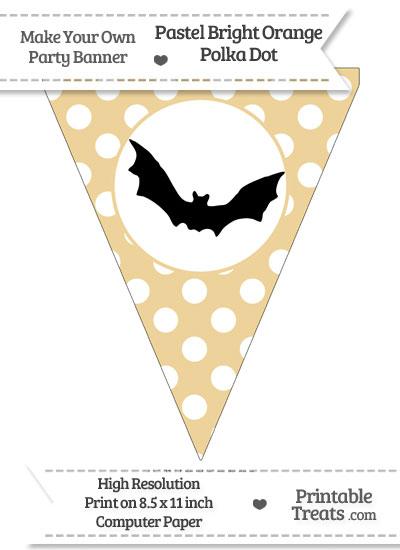 Pastel Bright Orange Polka Dot Pennant Flag with Bat Download from PrintableTreats.com