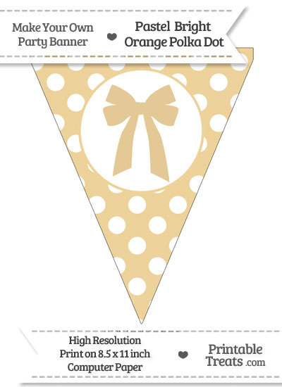 Pastel Bright Orange Polka Dot Pennant Flag with Bow from PrintableTreats.com
