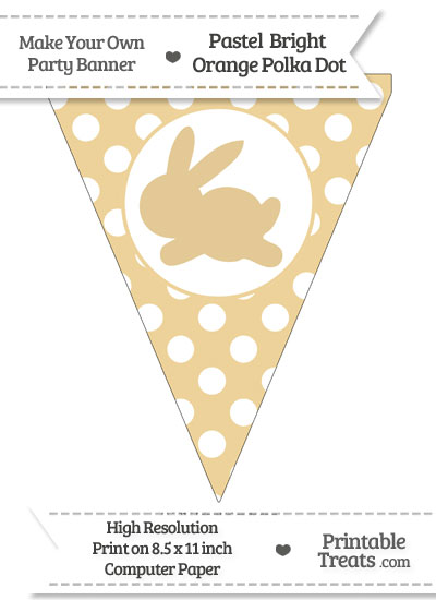 Pastel Bright Orange Polka Dot Pennant Flag with Bunny Facing Left from PrintableTreats.com