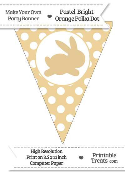 Pastel Bright Orange Polka Dot Pennant Flag with Bunny Facing Right from PrintableTreats.com