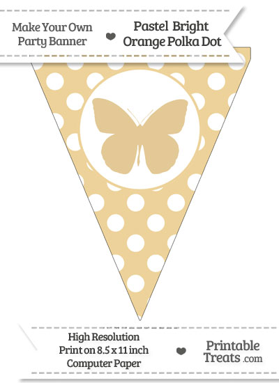 Pastel Bright Orange Polka Dot Pennant Flag with Butterfly from PrintableTreats.com