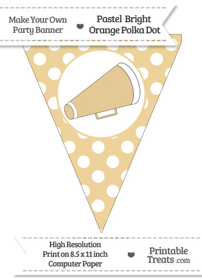 Pastel Bright Orange Polka Dot Pennant Flag with Cheer Megaphone Facing Right from PrintableTreats.com