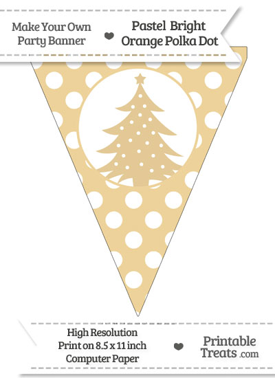 Pastel Bright Orange Polka Dot Pennant Flag with Christmas Tree from PrintableTreats.com
