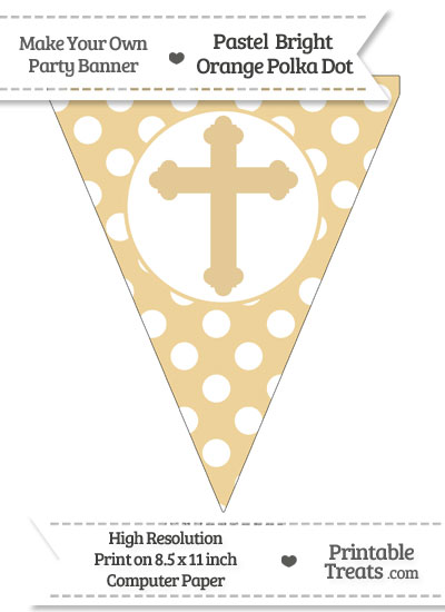 Pastel Bright Orange Polka Dot Pennant Flag with Cross from PrintableTreats.com