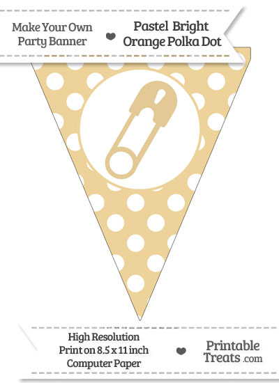 Pastel Bright Orange Polka Dot Pennant Flag with Diaper Pin Facing Right from PrintableTreats.com