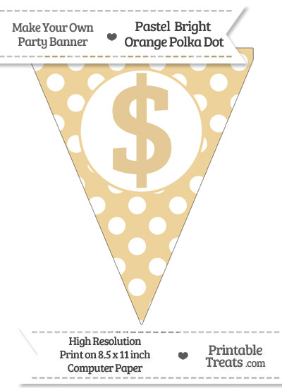 Pastel Bright Orange Polka Dot Pennant Flag with Dollar Sign from PrintableTreats.com