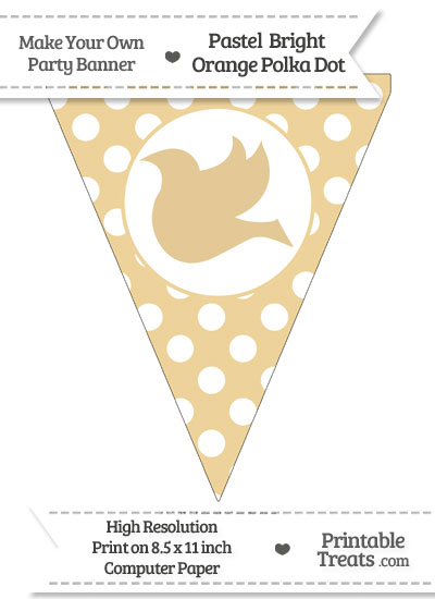 Pastel Bright Orange Polka Dot Pennant Flag with Dove Facing Left from PrintableTreats.com