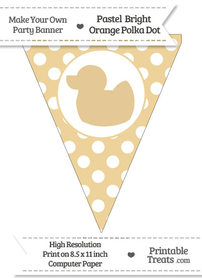 Pastel Bright Orange Polka Dot Pennant Flag with Duck Facing Left from PrintableTreats.com