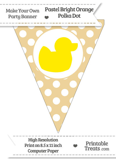 Pastel Bright Orange Polka Dot Pennant Flag with Duck Facing Right Download from PrintableTreats.com