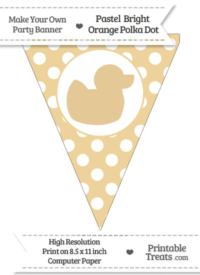 Pastel Bright Orange Polka Dot Pennant Flag with Duck Facing Right from PrintableTreats.com