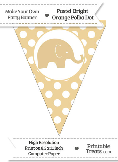 Pastel Bright Orange Polka Dot Pennant Flag with Elephant Facing Right from PrintableTreats.com