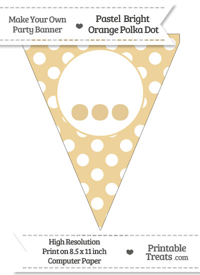 Pastel Bright Orange Polka Dot Pennant Flag with Ellipses from PrintableTreats.com