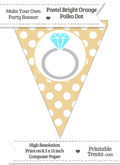 Pastel Bright Orange Polka Dot Pennant Flag with Engagement Ring Download from PrintableTreats.com