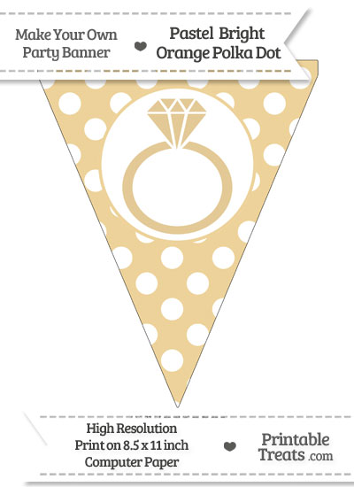 Pastel Bright Orange Polka Dot Pennant Flag with Engagement Ring from PrintableTreats.com