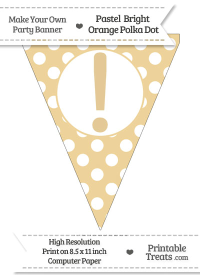 Pastel Bright Orange Polka Dot Pennant Flag with Exclamation Mark from PrintableTreats.com