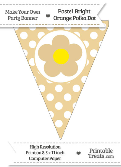 Pastel Bright Orange Polka Dot Pennant Flag with Flower from PrintableTreats.com