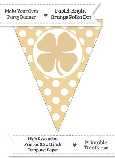 Pastel Bright Orange Polka Dot Pennant Flag with Four Leaf Clover Facing Left from PrintableTreats.com