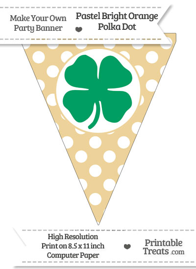 Pastel Bright Orange Polka Dot Pennant Flag with Four Leaf Clover Facing Right Download from PrintableTreats.com