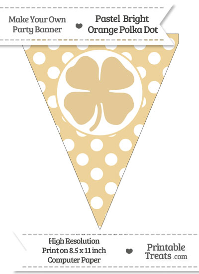 Pastel Bright Orange Polka Dot Pennant Flag with Four Leaf Clover Facing Right from PrintableTreats.com