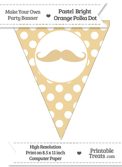 Pastel Bright Orange Polka Dot Pennant Flag with Handlebar Moustache from PrintableTreats.com