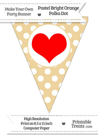 Pastel Bright Orange Polka Dot Pennant Flag with Heart Download from PrintableTreats.com