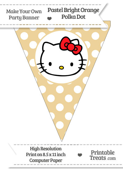 Pastel Bright Orange Polka Dot Pennant Flag with Hello Kitty Download from PrintableTreats.com