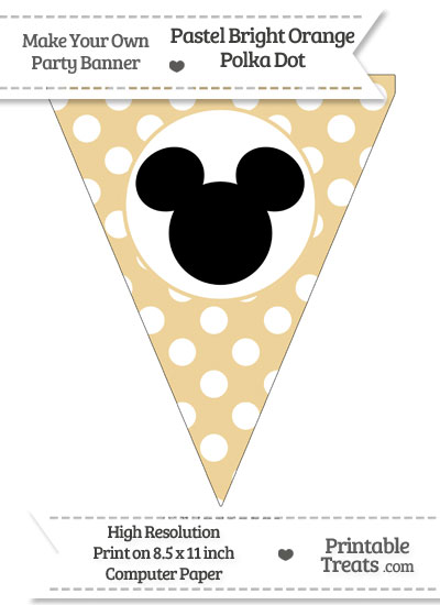Pastel Bright Orange Polka Dot Pennant Flag with Mickey Mouse Download from PrintableTreats.com