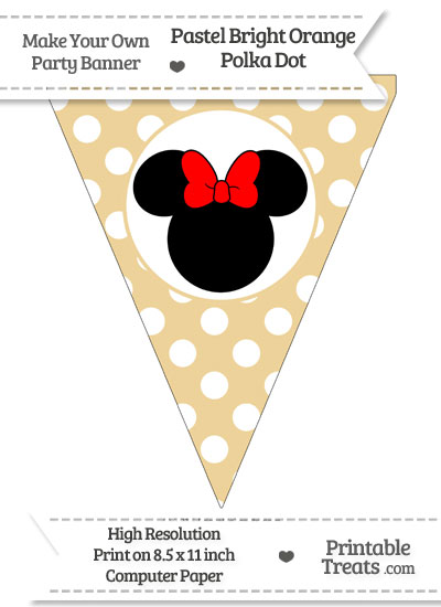 Pastel Bright Orange Polka Dot Pennant Flag with Minnie Mouse Download from PrintableTreats.com