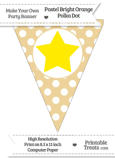 Pastel Bright Orange Polka Dot Pennant Flag with Star Download from PrintableTreats.com