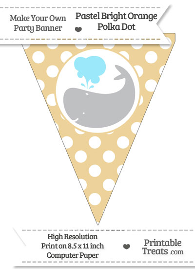 Pastel Bright Orange Polka Dot Pennant Flag with Whale Facing Left Download from PrintableTreats.com